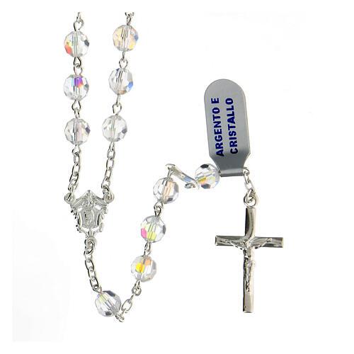 Terço prata 925 contas cristal branco 6 mm com crucifixo moderno 1