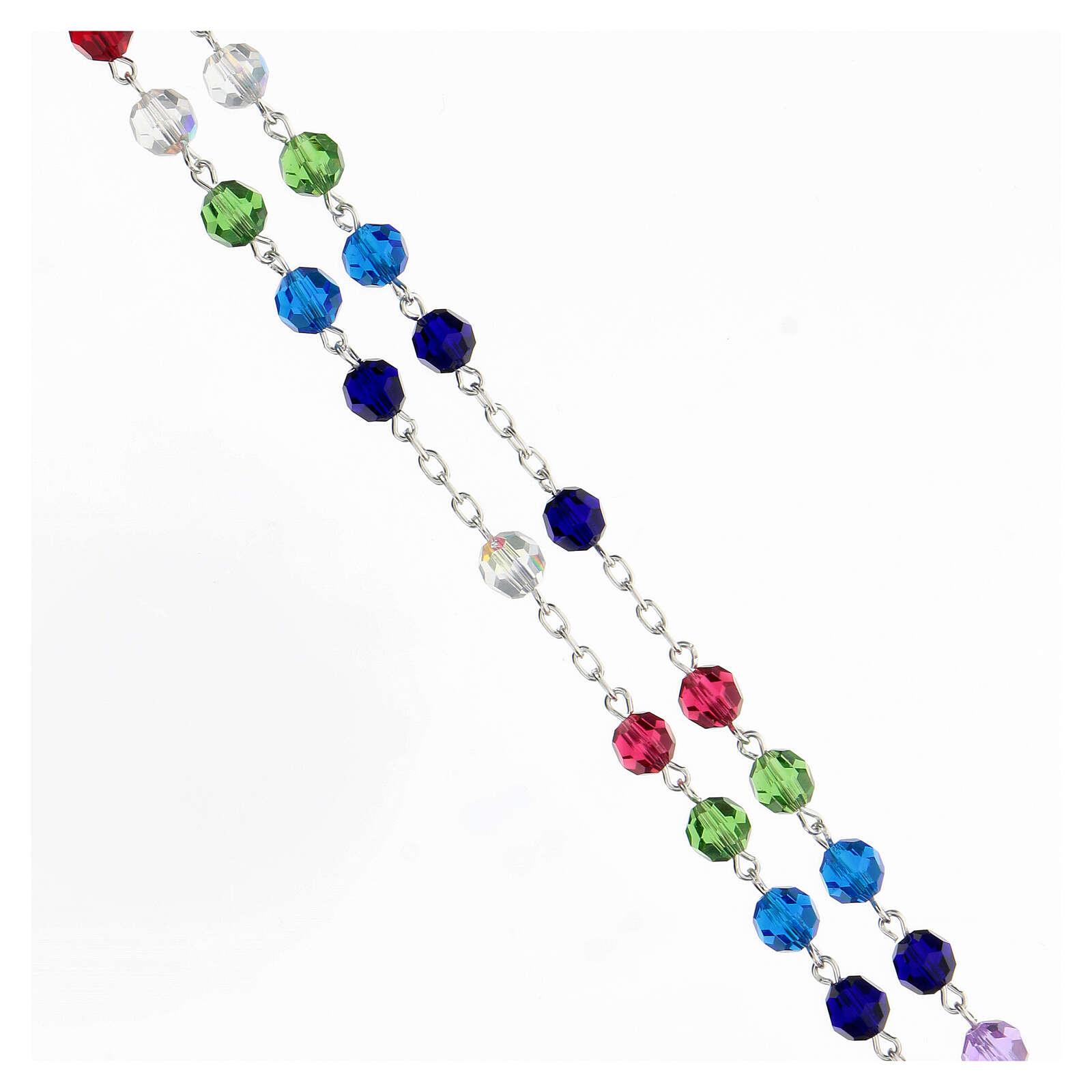 Terço prata 925 contas cristal multicolorido 6 mm com crucifixo moderno 4