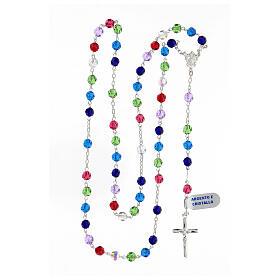 Terço prata 925 contas cristal multicolorido 6 mm com crucifixo moderno s4
