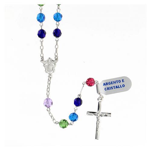 Terço prata 925 contas cristal multicolorido 6 mm com crucifixo moderno 1