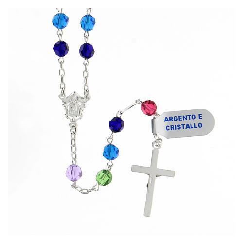 Terço prata 925 contas cristal multicolorido 6 mm com crucifixo moderno 2