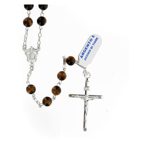 Terço prata 925 com contas 6 mm olho de tigre e crucifixo 1