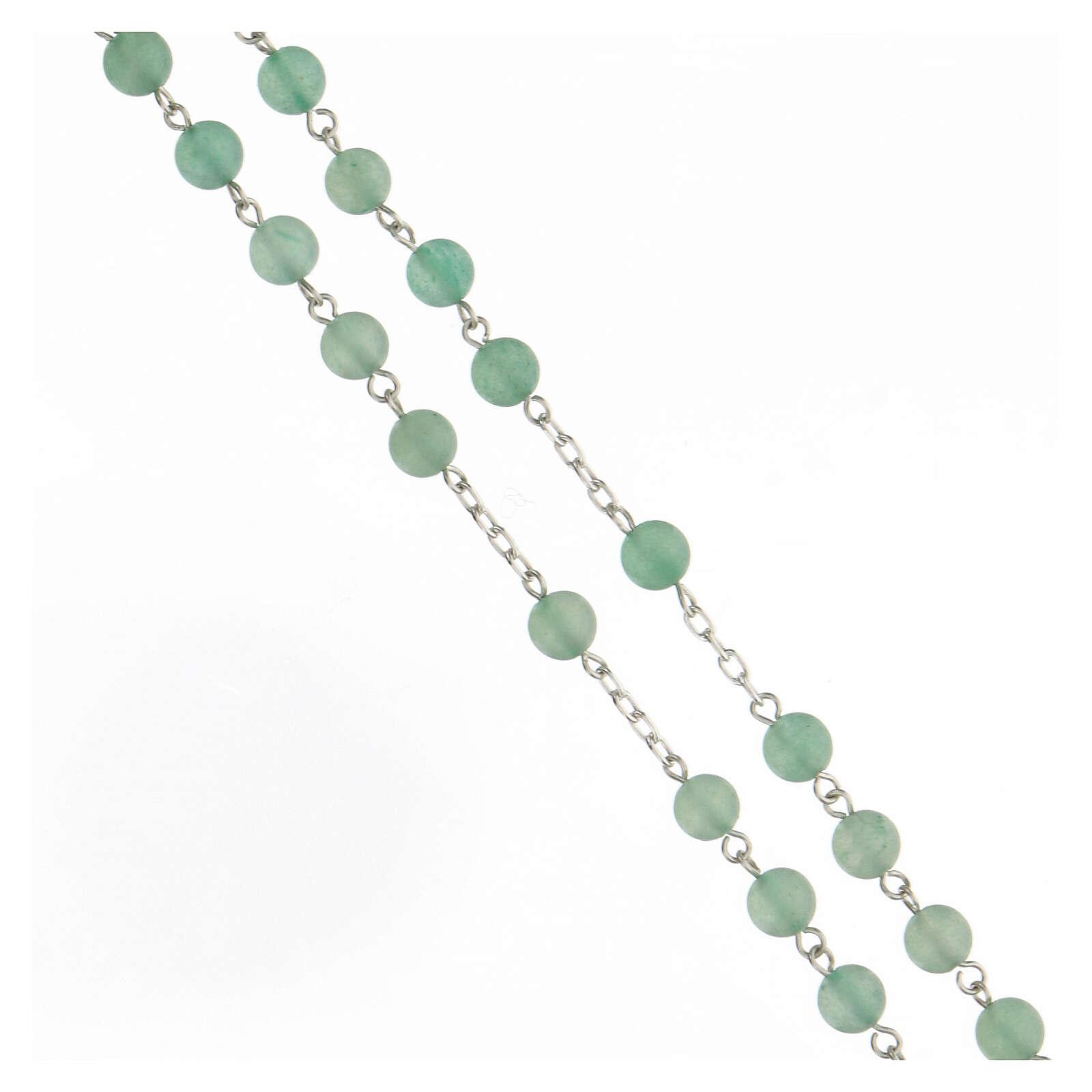 Rosario granos venturina verde 6 mm plata 925 4