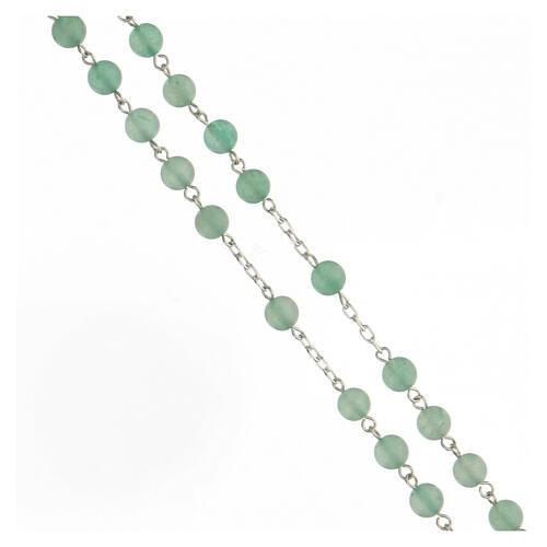 Rosario granos venturina verde 6 mm plata 925 3