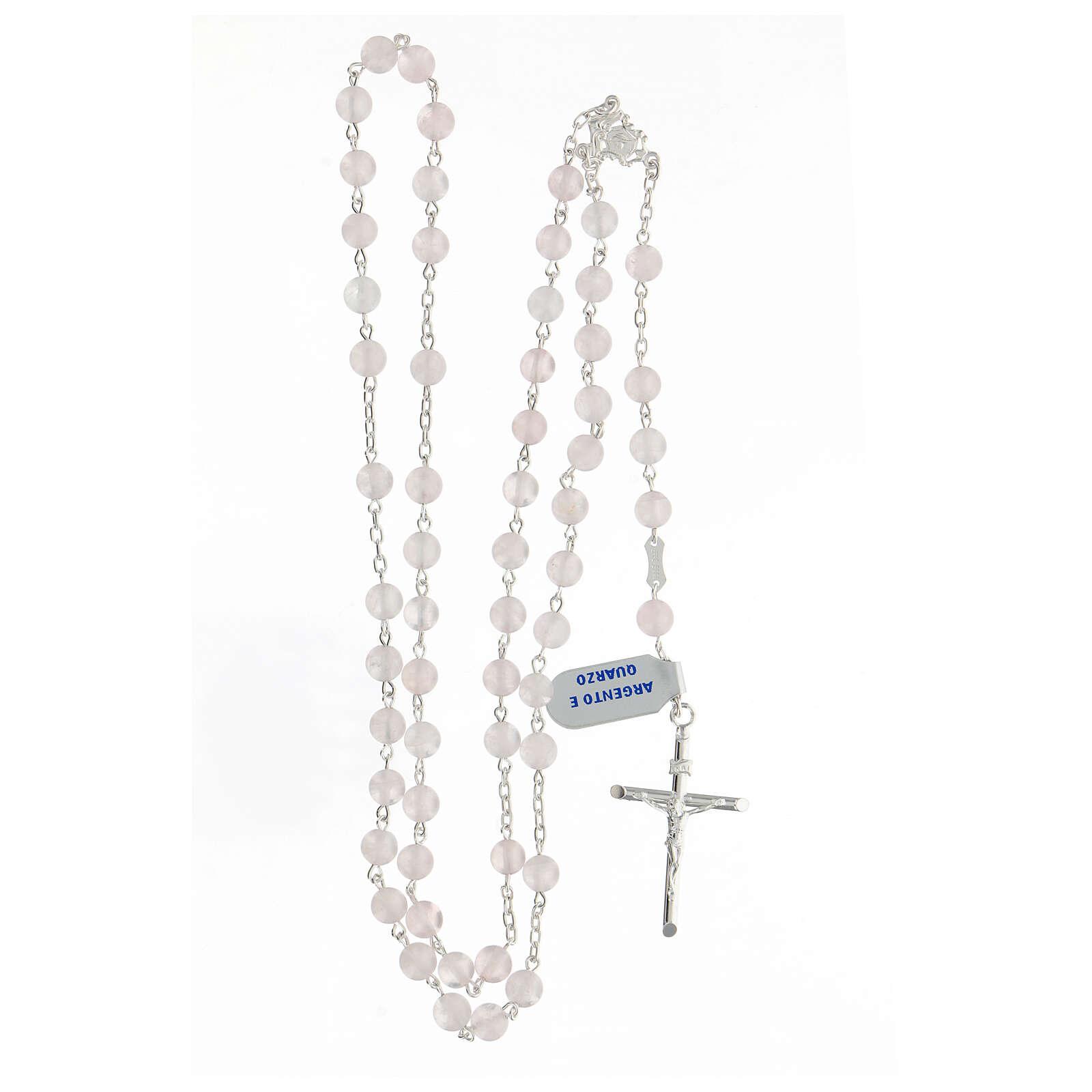 Terço prata 925 com contas de quartzo rosa 6 mm e cruz tubular 4