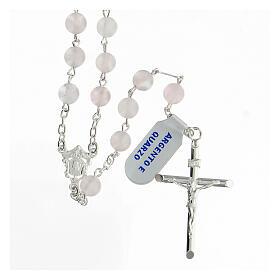 Terço prata 925 com contas de quartzo rosa 6 mm e cruz tubular s1