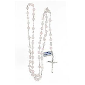 Terço prata 925 com contas de quartzo rosa 6 mm e cruz tubular s4