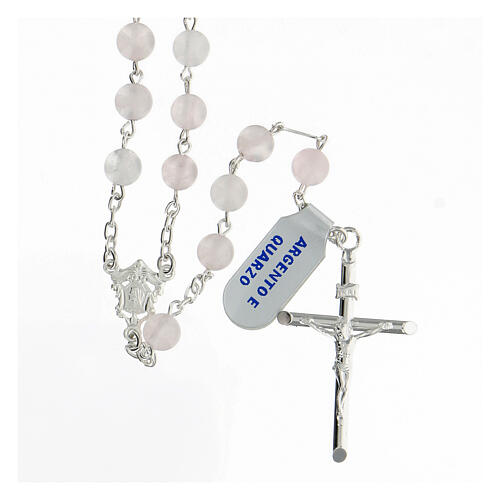 Terço prata 925 com contas de quartzo rosa 6 mm e cruz tubular 1