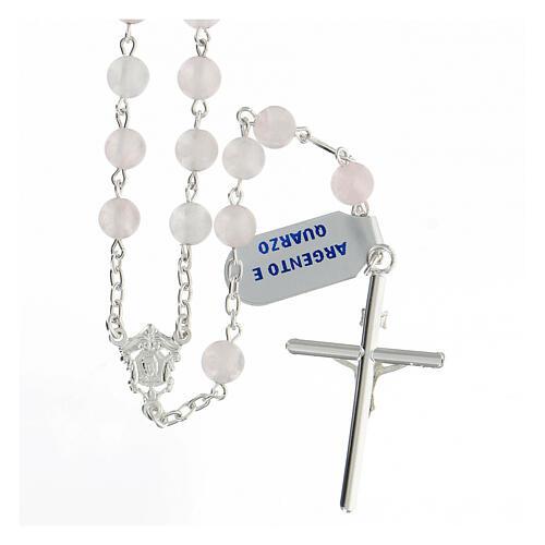 Terço prata 925 com contas de quartzo rosa 6 mm e cruz tubular 2