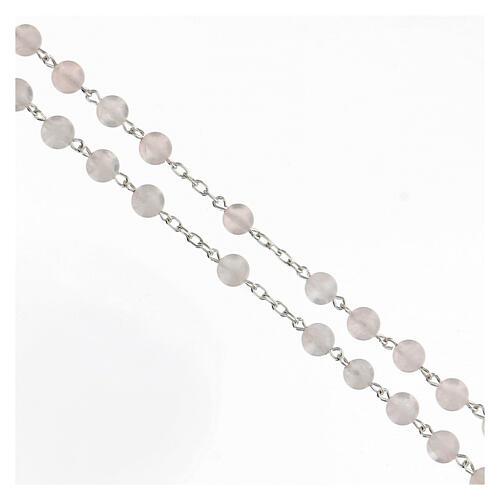 Terço prata 925 com contas de quartzo rosa 6 mm e cruz tubular 3