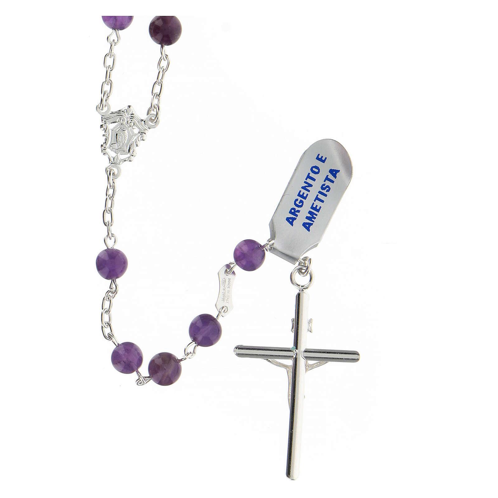 Rosario granos amatista violeta 6 mm esféricos plata 925 4