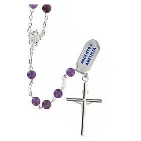 Rosario granos amatista violeta 6 mm esféricos plata 925 s2