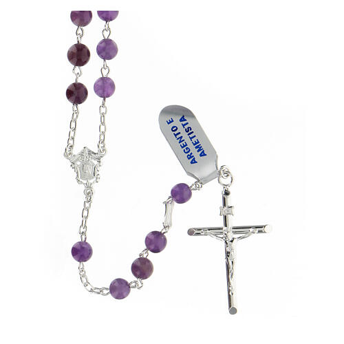 Rosario granos amatista violeta 6 mm esféricos plata 925 1