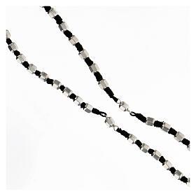 Terço prata 925 corda preta contas hexagonais 5 mm com fecho de mosquetão s3