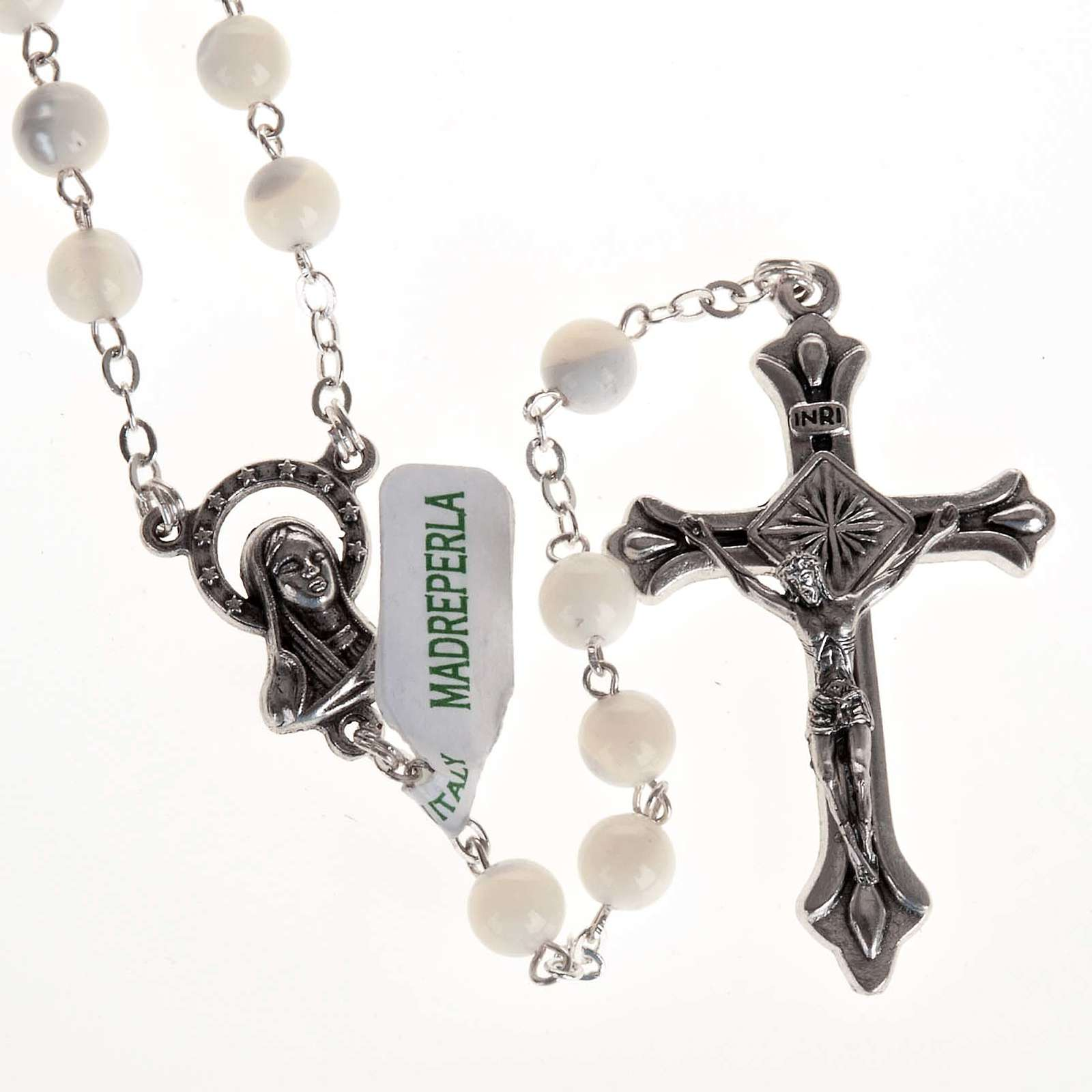 Rosary with mother of pearl bead, 6mm and Our Lady centerpiece 4