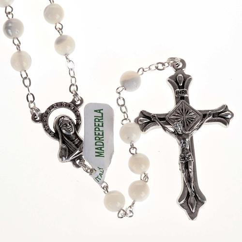 Rosary with mother of pearl bead, 6mm and Our Lady centerpiece 1