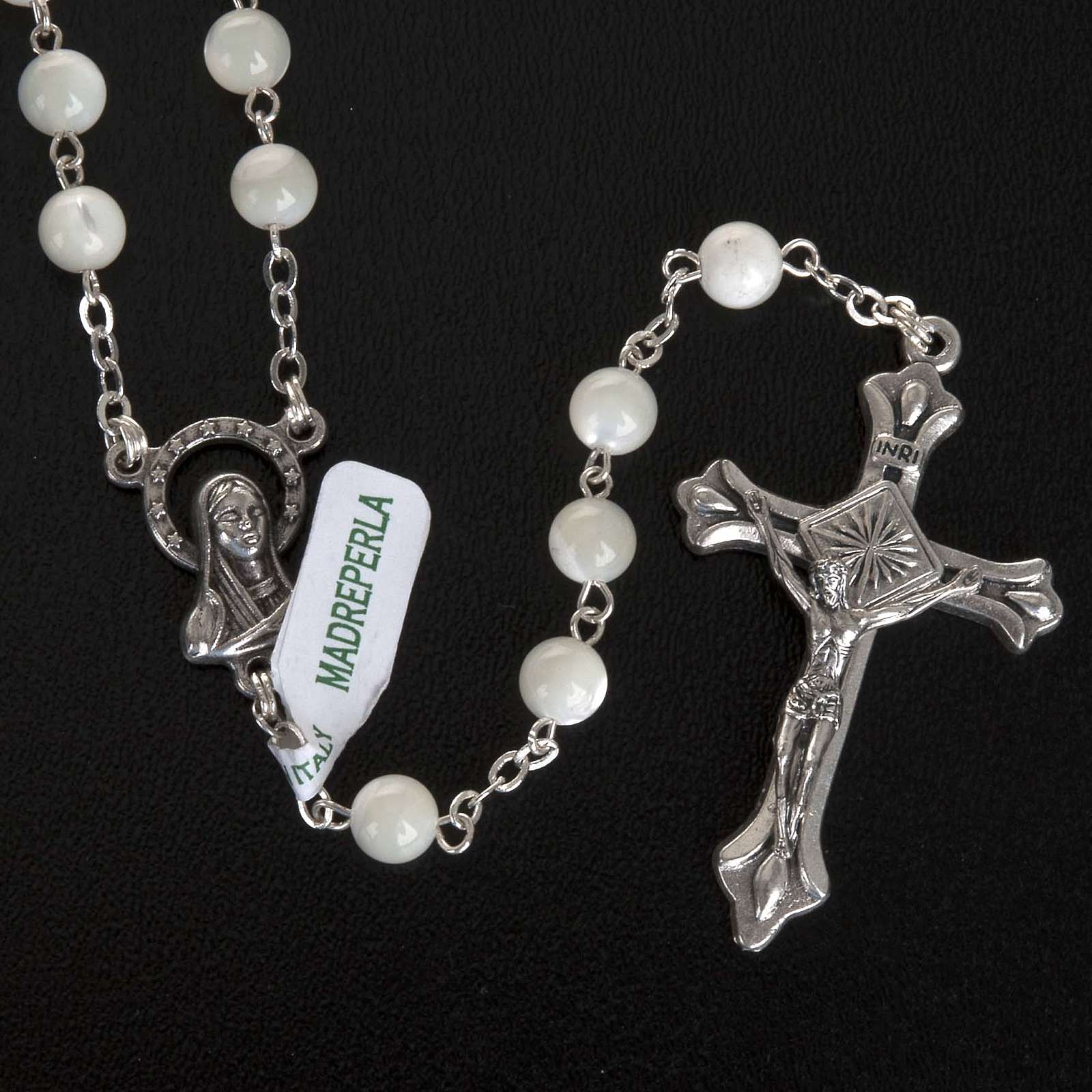 Chapelet nacre véritable médaille Notre Dame 6mm 4