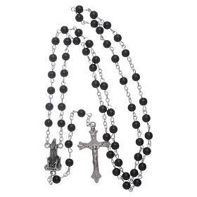 Rosario Madonna di Fatima similperla nera 6 mm s4