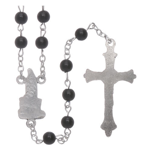 Rosario Madonna di Fatima similperla nera 6 mm 2