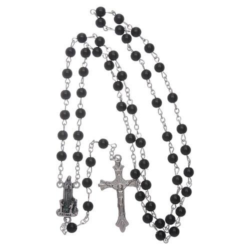 Rosario Madonna di Fatima similperla nera 6 mm 4