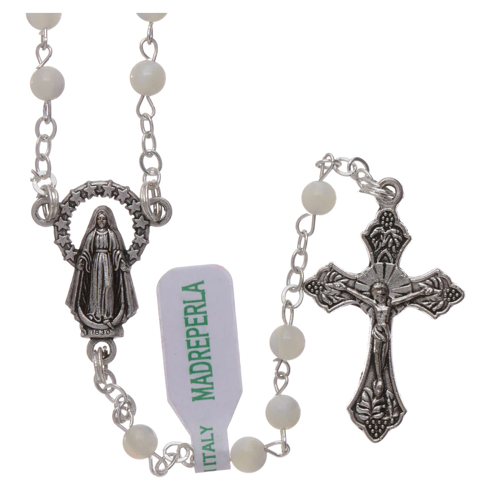 Mother-of-pearl rosary with round pearls 2 mm 4