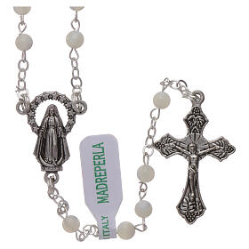 Mother-of-pearl rosary with round pearls 2 mm s1