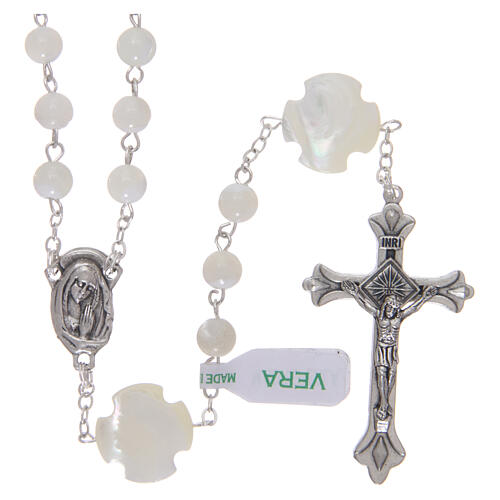 Mother-of-pearl rosary with round pearls of 3 mm 1