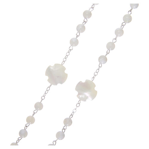Mother-of-pearl rosary with round pearls of 3 mm 3