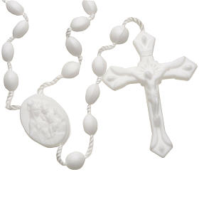 White nylon rosary, openable chain s1