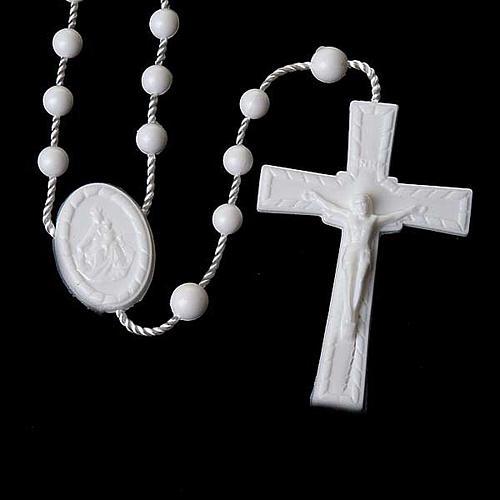 Preiswerter Rosenkranz aus Nylon in der Farbe Weiß 5 mm 2