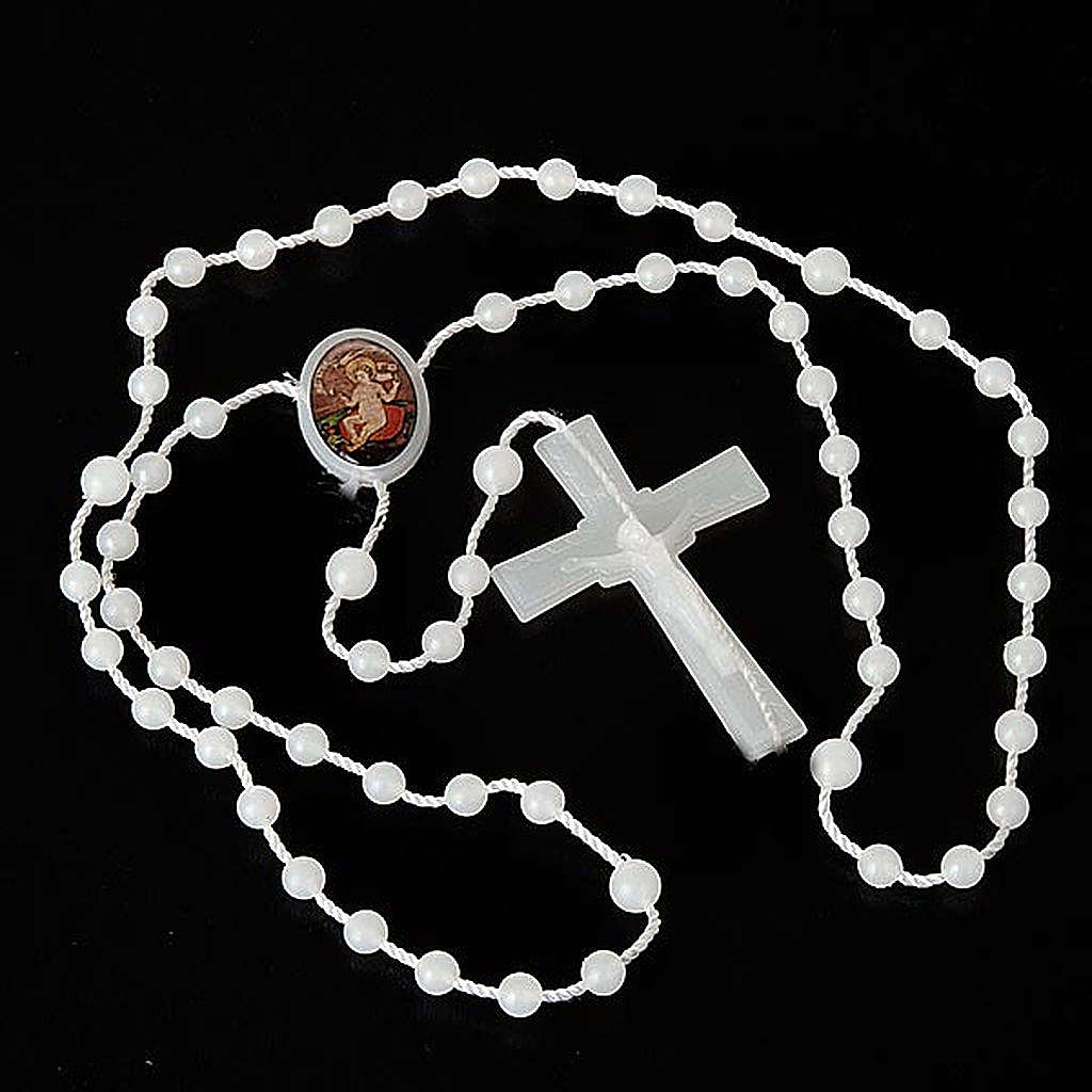 White nylon rosary with image of Baby Jesus from Wettingen 4
