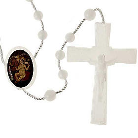 White nylon rosary with image of Baby Jesus from Wettingen s1