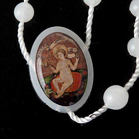 White nylon rosary with image of Baby Jesus from Wettingen s4