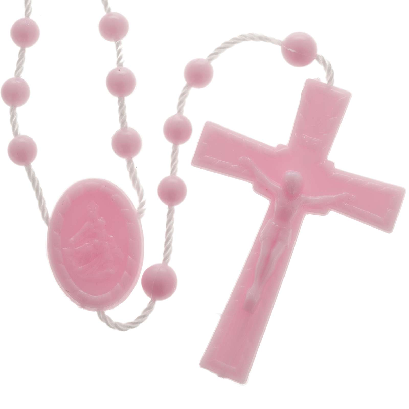 Terço nylon cor-de-rosa 4