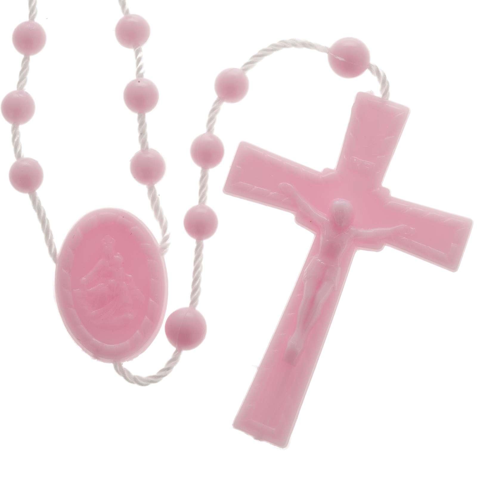 Pink nylon rosary 4