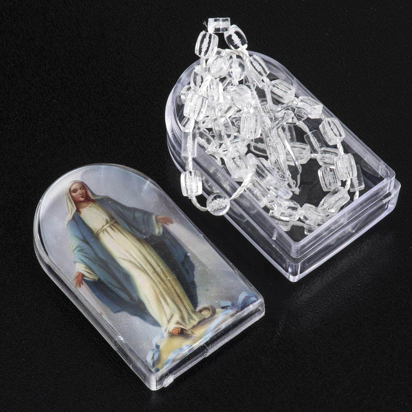 Set, Rosenkranz und Etui, transparente Perlen, mit Verschluss 4