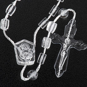 Transparent nylon rosary with box, centerpiece easy to open s3