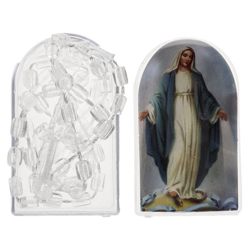 Transparent nylon rosary with box, centerpiece easy to open 1