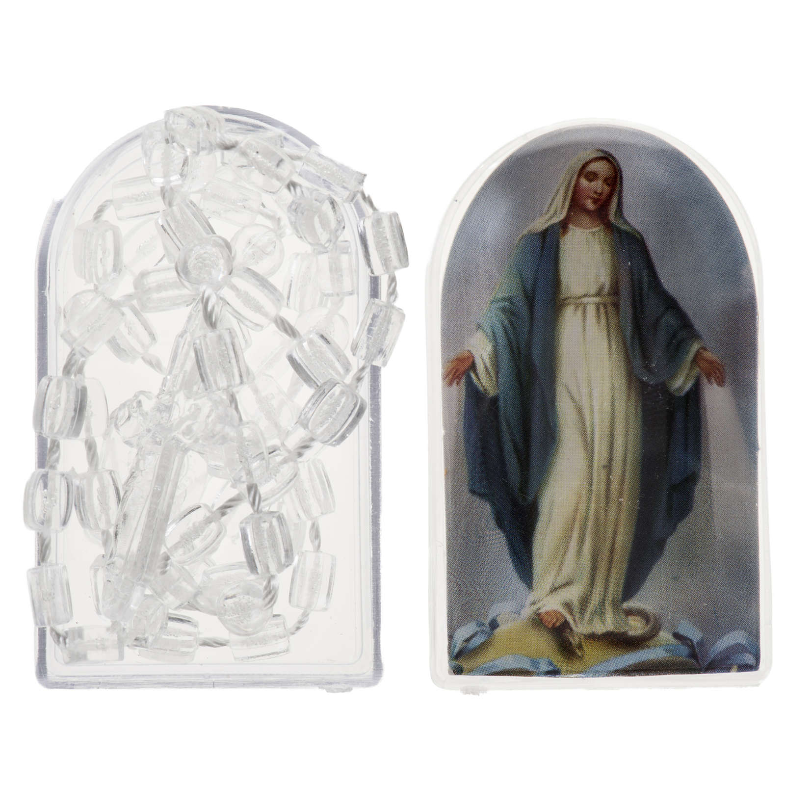 Transparent nylon rosary with box, centerpiece easy to open 4