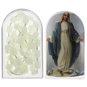Economical rosaries: Fluorescent nylon rosary with box, centerpiece easy to open