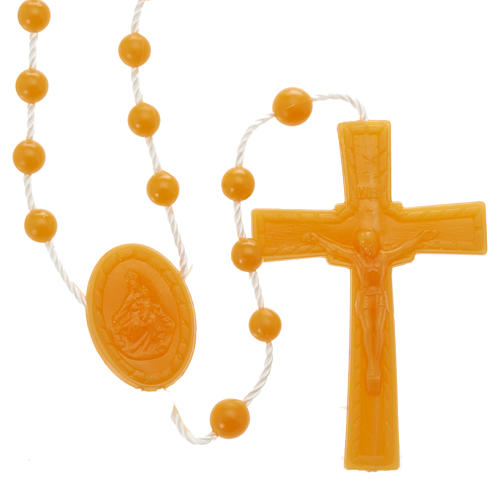 Orange nylon rosary 1