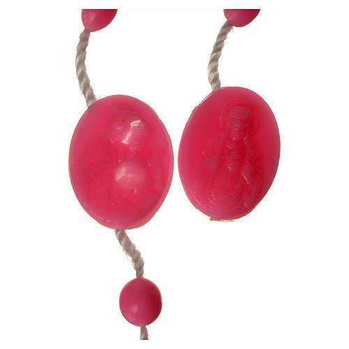 Rosario nailon rosado medalla abre y cierra 2