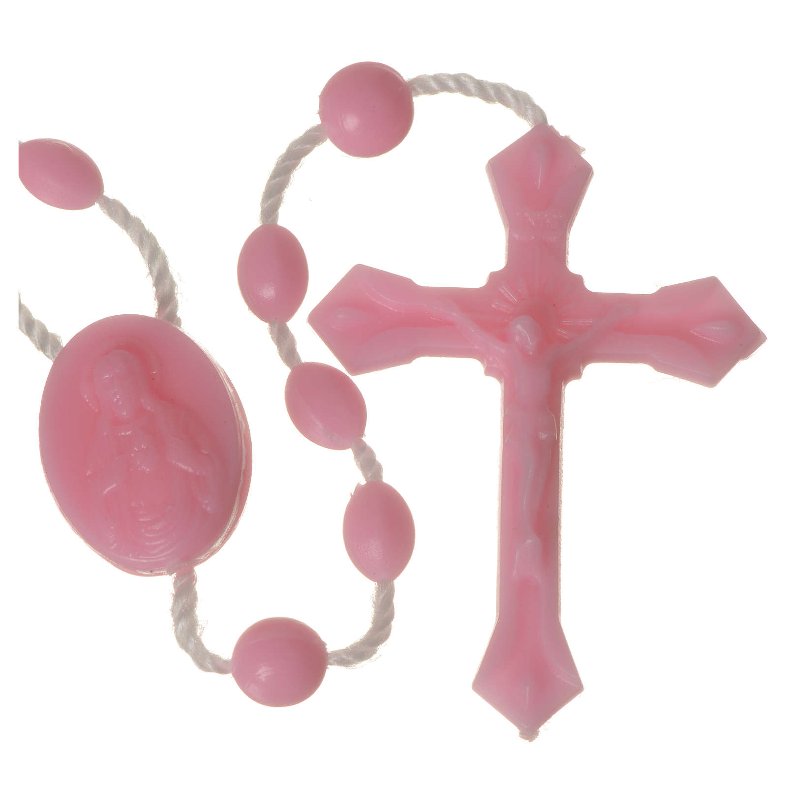 Pink nylon rosary, centerpiece easy to open 4
