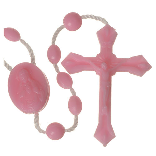Pink nylon rosary, centerpiece easy to open 3