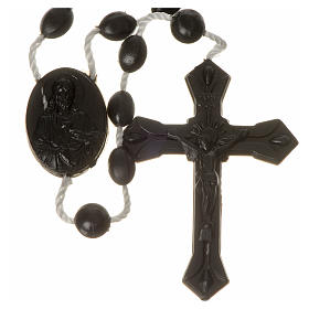 Economical rosaries: Black nylon rosary, centerpiece easy to open