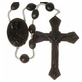 Terços Baratos: Terço nylon preto medalha fecho encaixe