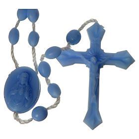 Terços Baratos: Terço nylon azul claro medalha fecho encaixe