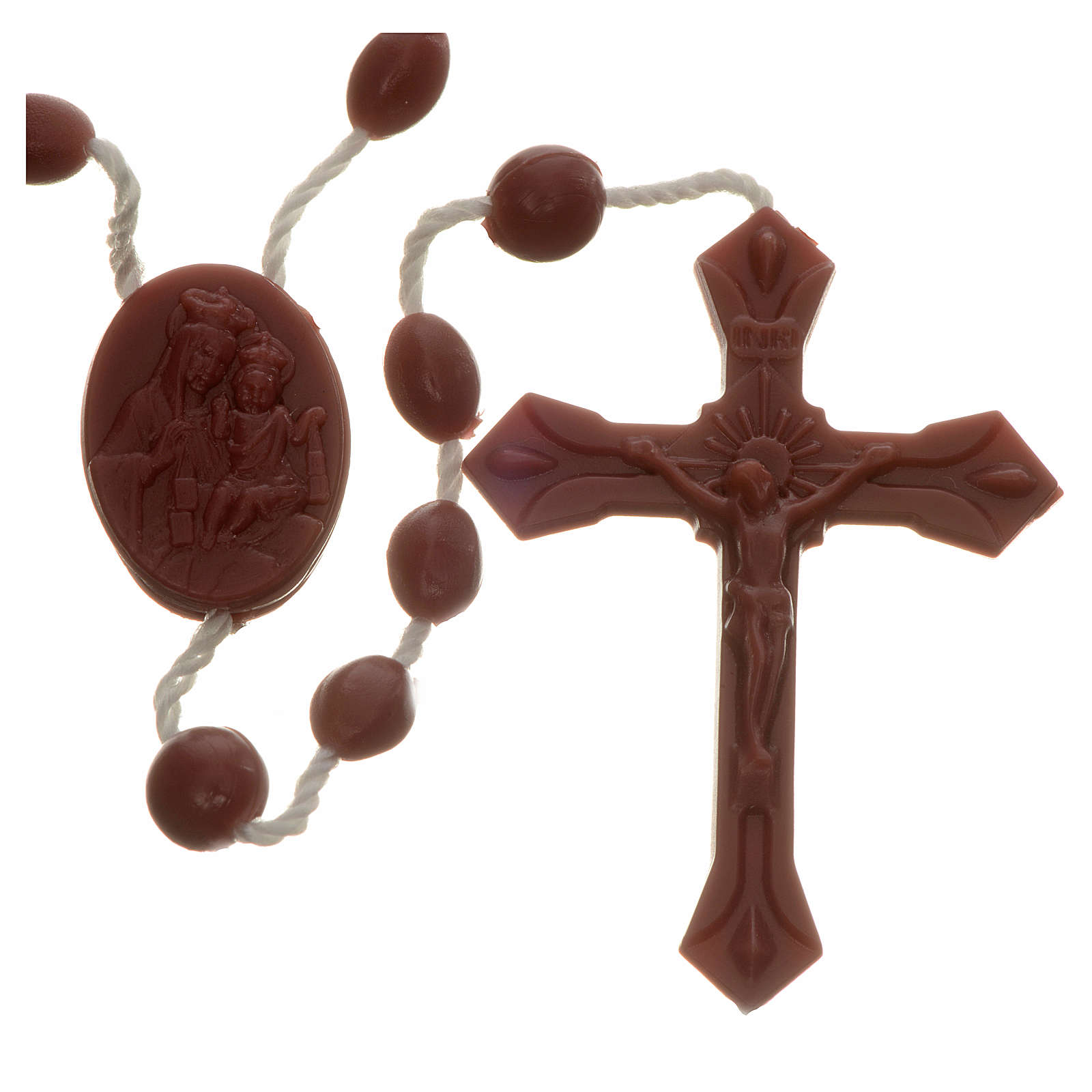 Brown nylon rosary, centerpiece easy to open 4