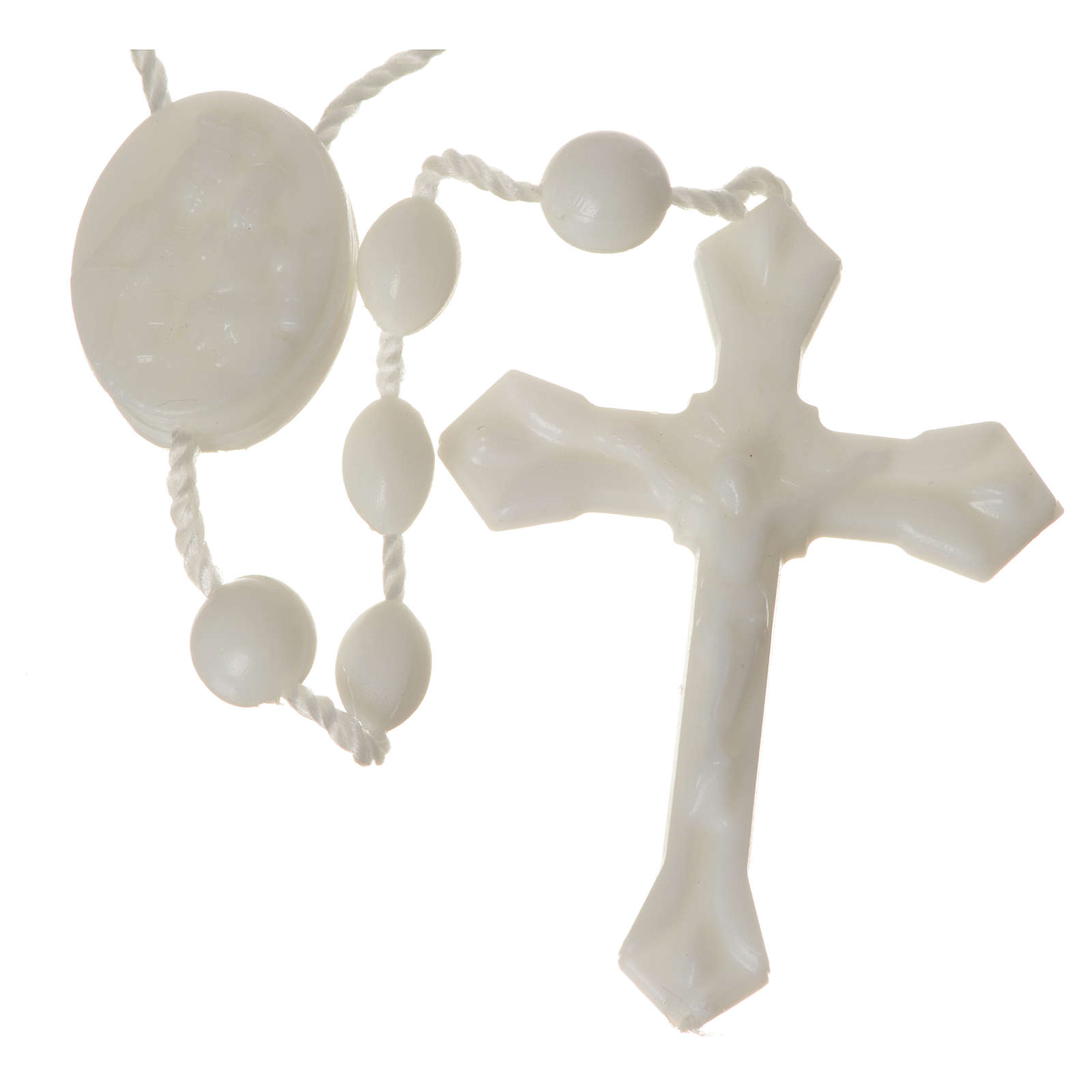 White nylon rosary, centerpiece easy to open 4
