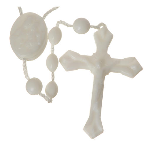 White nylon rosary, centerpiece easy to open 1